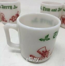 Vintage Tom and Jerry Holiday Milk Glass Punch Bowl Set Hazel Atlas Gift Idea