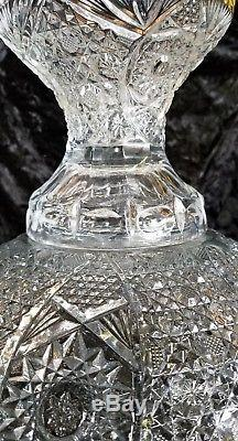 Vintage Two Piece Heavy Cut Crystal Glass Punch Bowl Pedestal NICE ABP PERIOD