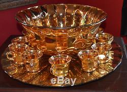Vintage United States Glass Punch Bowl & 12 Cups GOLD FLASH GLASS