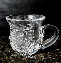 Vintage Waterford Crystal Punch Bowl Set & 13 Crystal Cups Mugs