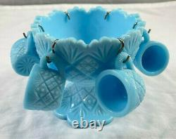 Vintage Westmoreland Blue Milk Glass Miniature Punch Bowl Set ACTUALLY RARE 7 pc