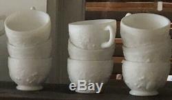 Vintage Westmoreland Milk Glass Punch Bowl Set 18 Cups & Ladel