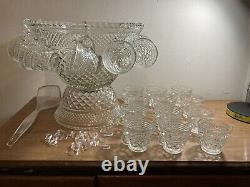 Vintage Wexford39 Piece Punch Bowl Set18 Cups & Hangers1 Ladle Anchor Hocking