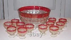 Vintage Whitehall Colony Ruby Flashed Punch Bowl Set with 12 Pedestal Cups