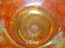 Vintage amb orang carnival Glass 2 pc Punch Bowl Set 10 Cups Exquisite Marigold