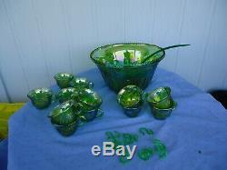 Vintage carnival glass green punch bowl set 12 glasses ladle and hooks