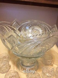 Vintage cut glass crystal punch bowl, stand & 10 cups, Pinwheel design Lovely