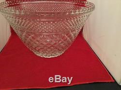 Vintage glass punch bowl, 15 cups and matching smaller bowl, 14Wd, 8 tall