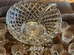 Vintage huge FOSTORIA punch bowl party glass with ladle + 22 cups American set
