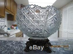 Vintage lead crystal punch bowl