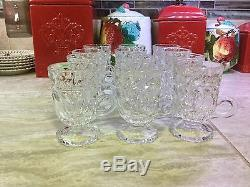 Vintage lead crystal punch bowl with 12 cups