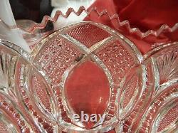 Vintage sawtooth Crystal Punch Bowl Ornate pressed With Stand/unusual eye design
