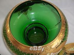 Vntg 9 Pc Italy Hand Blown Murano Green Art Glass Punch Bowl Set 22 K Gold Trim