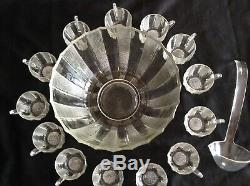 Vtg. 15 pc DEW DROP Pattern Jeanette GLASS PUNCH BOWL SET With13 CUPS