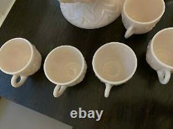 Vtg Antique Jeannette Pink Milk Glass Punch Bowl Set Pedestal & 12 Handled Cups
