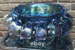 Vtg CARNIVAL GLASS Iridescent Blue Grape Harvest Punch Bowl Set Cups w Laddle