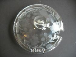 Vtg Crystal etched fruits Punch Bowl w Lid & 12 Cups + glass Ladle Germany