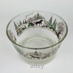 Vtg. Culver Christmas Sleigh Ride Punch Bowl & 4 Egg Nog or Juice Glasses Rare