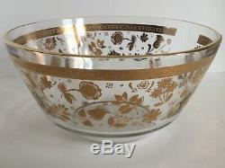 Vtg Culver Glass Punch Bowl Set MCM 22k Gold Chantilly 12 Cups Metal Rack Ladle