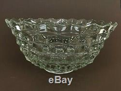 Vtg Fostoria American Clear Glass 14'' Punch Bowl w Flared Vase Pedestal Stand