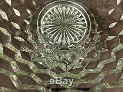 Vtg Fostoria American Clear Glass 14'' Punch Bowl w Flared Vase Pedestal Stand
