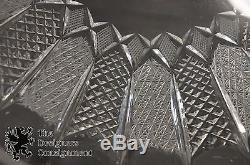 Vtg German Made Cut Glass Crystal Punch Bowl Lidded 12 Cups Starburst Pattern