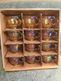 Vtg INDIANA GLASS Carnival Iridescent PUNCH BOWL SET Princess 7447 GOLD Grapes