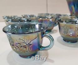 Vtg Indiana Blue Carnival Glass Harvest Grape Leaf Punch Bowl & 12 Cup Set