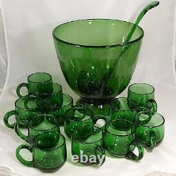 Vtg MCM Blenko Forest Green Hand Blown Glass Punch Bowl Set 12 Cups Ladle & Bowl