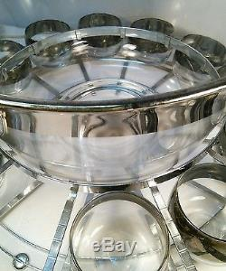 Vtg RARE Japan Silver Trim Glass Punch Bowl 12 Cups Metal Carrier tray Ladle