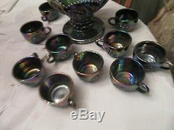 Vtg westmoreland Amethyst carnival Glass Punch Bowl & 11 Cups