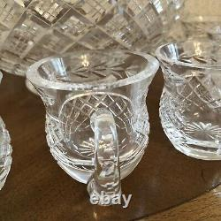 WATERFORD CRYSTAL GLANDORE PUNCH BOWL With 12 WATERFORD PUNCH CUPS IRELAND