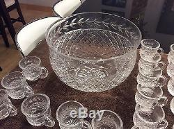 WATERFORD GLANDORE PUNCH BOWL With24 CUPS, EXCELLENT CONDITION