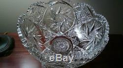 WC Anderson Libbey 12 pedestal Punch Bowl FERN pattern STUNNING