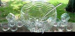WEST VIRGINIA GLASS. Iridescent Luster Punch Bowl+Cups+Ladle. FREE Shipping