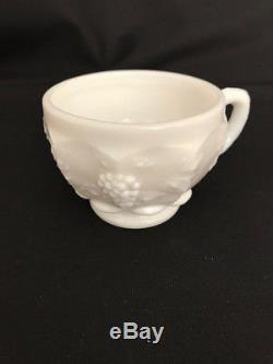 WESTMORELAND PUNCH BOWL SET, 12 Cups, Original Ladel in Paneled Grape Milk Glass