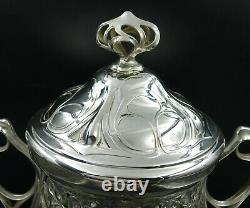 WMF Art Nouveau Silver Punch Bowl Green Glass Insert MOST BEAUTIFUL IN THE WORLD