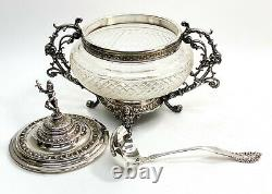 WMF Silverplate and Cut Glass Footed Punch Bowl and Ladle, Foliate Scrolls