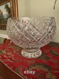 Waterford Crystal 9.25 Diameter Pedestal Punch Bowl or Centerpiece Bowl