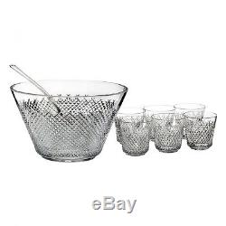 Waterford Crystal Alana 60th Anniversary Punchbowl & Cups