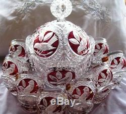 West Germany Hofbauer Leaded Crystal Punch Bowl Replacement Lid Birds Byrdes