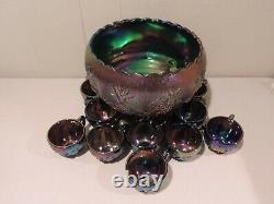 Westmoreland Amethyst Carnival Three Fruits Punchbowl, Brass Stand, 12 Cups