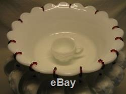 Westmoreland Glass Paneled Grape 13 1/4 Punch Bowl, Stand, 14 Cups & 13 Hooks