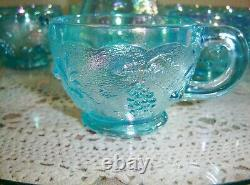 Westmoreland Ice Blue Carnival Three Fruits Punch Bowl, Stand and 12 Cups RARE