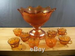 Westmoreland Marigold Carnival Orange Peel Punch Bowl Set with 8 Cups