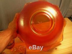 Westmoreland Marigold Carnival Orange Peel Punch Bowl Set with 8 Cups