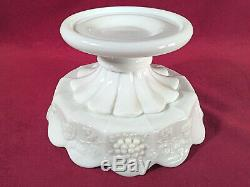 Westmoreland Milk Glass Paneled Grape Bell Shape Punch Bowl Set