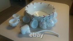 Westmoreland Milk Glass Paneled Grape Punch Bowl, 12 Cups, Hangers & Ladle EUC