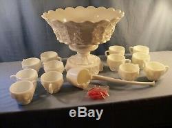 Westmoreland Milk Glass Paneled Grape Punch Bowl Set with Base 12 Cups Ladle Hooks