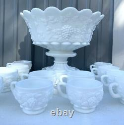 Westmoreland Milk Glass Paneled Grape Vine Punch Bowl Set Cups Ladle Pedestal